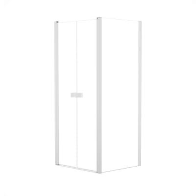 Doccia con porta saloon e lato fisso Neo 67 - 71 x 77 - 79 cm, H 200 cm vetro temperato 6 mm trasparente/bianco opaco