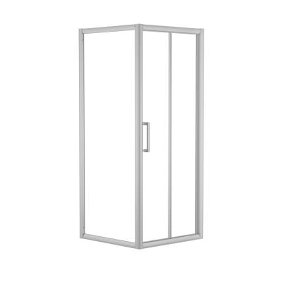 Doccia con porta pieghevole e lato fisso Quad 67.5 - 70,5 x 77.5 - 79 cm, H 190 cm cristallo 6 mm trasparente/silver