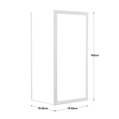 Doccia con porta battente e lato fisso Elba 78 - 82 x 78 - 82 cm, H 185 cm cristallo 3 mm piumato/bianco lucido