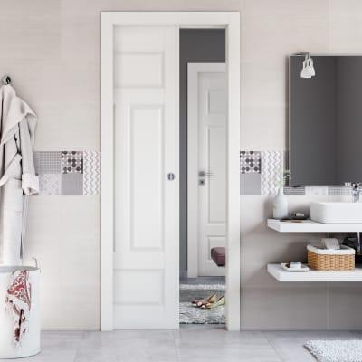 Porta da interno battente Coconut Groove bianco 60 x H 210 cm sx