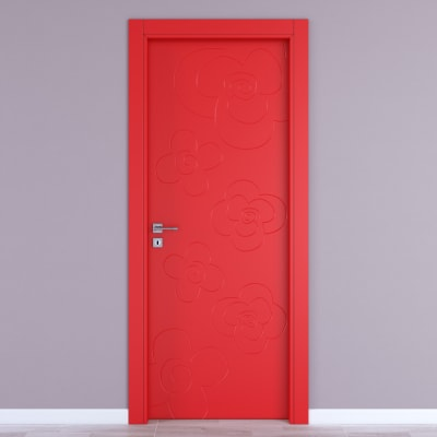 Porta da interno battente Flower red rosso 70 x H 210 cm dx