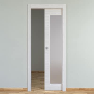 Porta da interno scorrevole Pigalle palissandro bianco 80 x H 210 cm reversibile