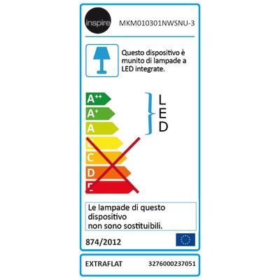 Kit 3 faretti ad incasso LED integrato Extraflat nickel fisso rotondo Ø 8,5 cm 3 x 3 W = 300 Lumen luce naturale