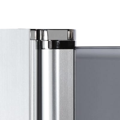 Doccia con porta battente e lato fisso Neo 87 - 89 x 77 - 79 cm, H 200 cm vetro temperato 6 mm cromo PVD