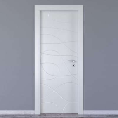 Porta da interno battente Wind white bianco 80 x H 210 cm sx