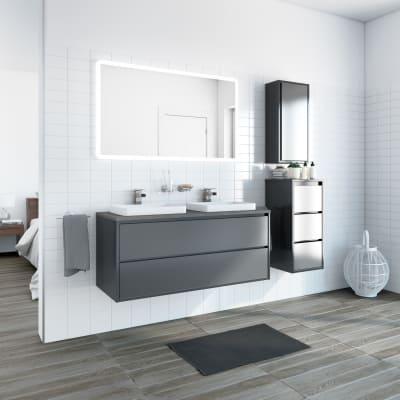 Mobile bagno Loto grigio antracite con frontale in vetro L 120 cm
