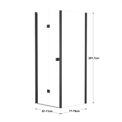 Doccia con porta pieghevole e lato fisso Neo 67 - 71 x 77 - 79 cm, H 201,7 cm vetro temperato 6 mm trasparente/nero