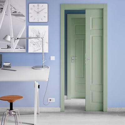 Porta da interno scorrevole Coconut Groove verde 80 x H 210 cm reversibile