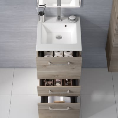 Mobile bagno Neo Line L 45 x P 48 x H 84 cm 3 cassetti rovere grigio