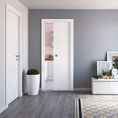Porta da interno scorrevole Wind white bianco 70 x H 210 cm reversibile