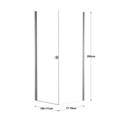 Doccia con porta battente e lato fisso Neo 69 - 71 x 77 - 79 cm, H 200 cm vetro temperato 6 mm trasparente/cromo PVD