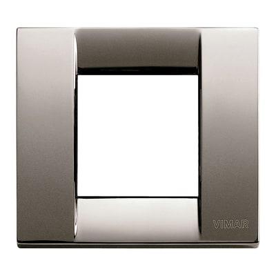 Placca 2 moduli Vimar Idea cromo nero