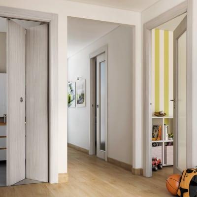 Porta da interno battente Brooklyn Vetro frassino bianco 80 x H 210 cm reversibile