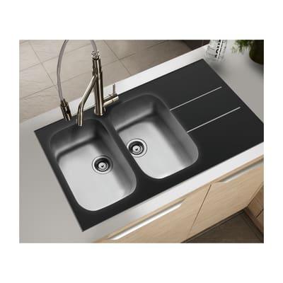 Lavello incasso concerto nero l 116 x p 50 cm 2 vasche for Lavello nero