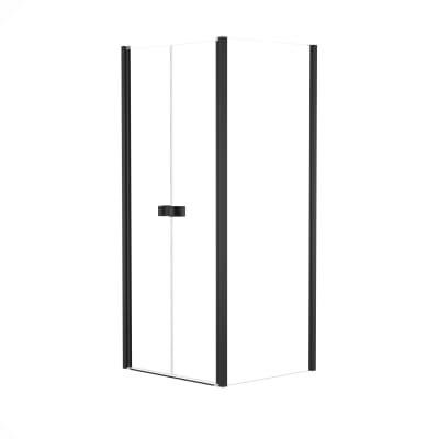 Doccia con porta saloon e lato fisso Neo 82 - 86 x 77 - 79 cm, H 200 cm vetro temperato 6 mm trasparente/nero