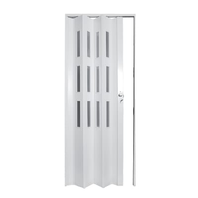 Porta a soffietto vetrata Luciana cedro L 88.5 x H 214 cm