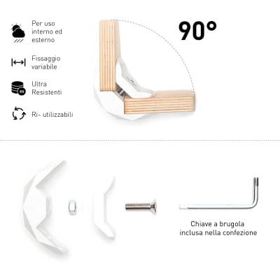 Connettore Playwood 90° per pannelli in legno in plastica hi-tech bianco confezione 4 pezzi