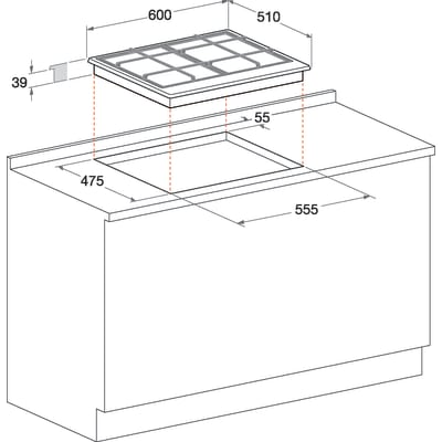 Piano cottura a gas 47,5 cm Hotpoint PC 640 T AVR/HA