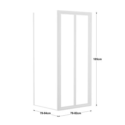 Doccia con porta pieghevole e lato fisso Elba 78 - 84 x 78 - 82 cm, H 185 cm acrilico 2 mm stampato