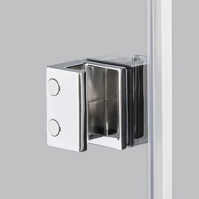 Doccia con porta battente e lato fisso Neo 91 - 93 x 77 - 79 cm, H 200 cm vetro temperato 6 mm serigrafato/cromo PVD