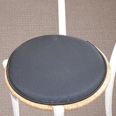 Cuscino per sedia tondo retro antiscivolo nero Ø 38 cm