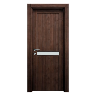 Porta da interno battente Spyhole nut larice noce 90 x H 210 cm dx