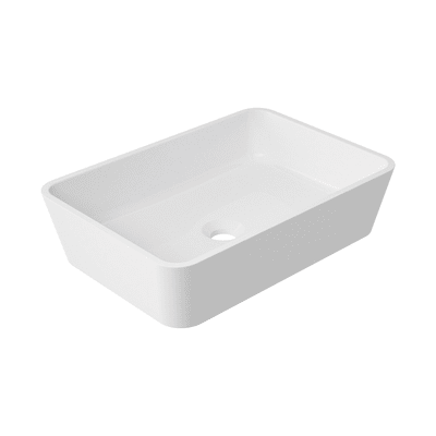 Lavabo da appoggio rettangolare Eolian L 50 x P 35 x H  14 cm bianco