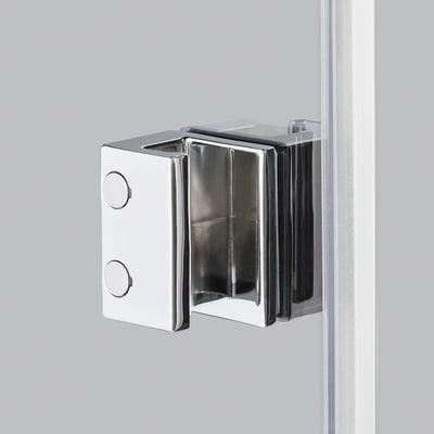 Doccia con porta battente e lato fisso Neo 81 - 83 x 77 - 79 cm, H 200 cm vetro temperato 6 mm trasparente/bianco opaco