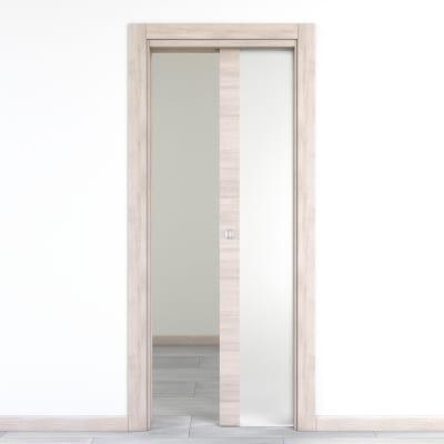 Porta da interno scorrevole Resort Vetro Larice ghiaccio 80 x H 210 cm reversibile